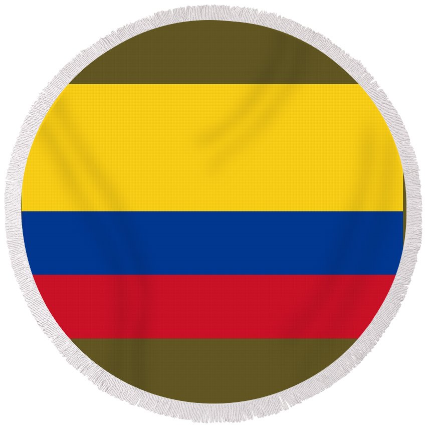 Flag Round Beach Towel featuring the digital art Colombia Flag by Frederick Holiday