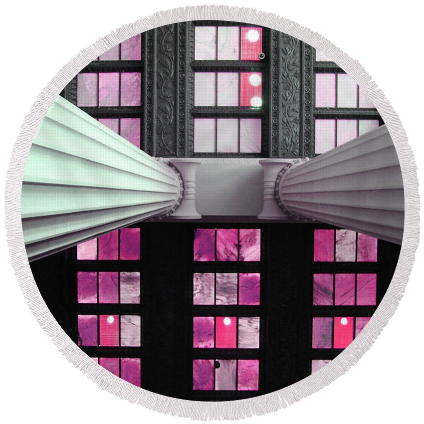 Lincoln Round Beach Towel featuring the photograph 2 Column Stain Pink by Jost Houk