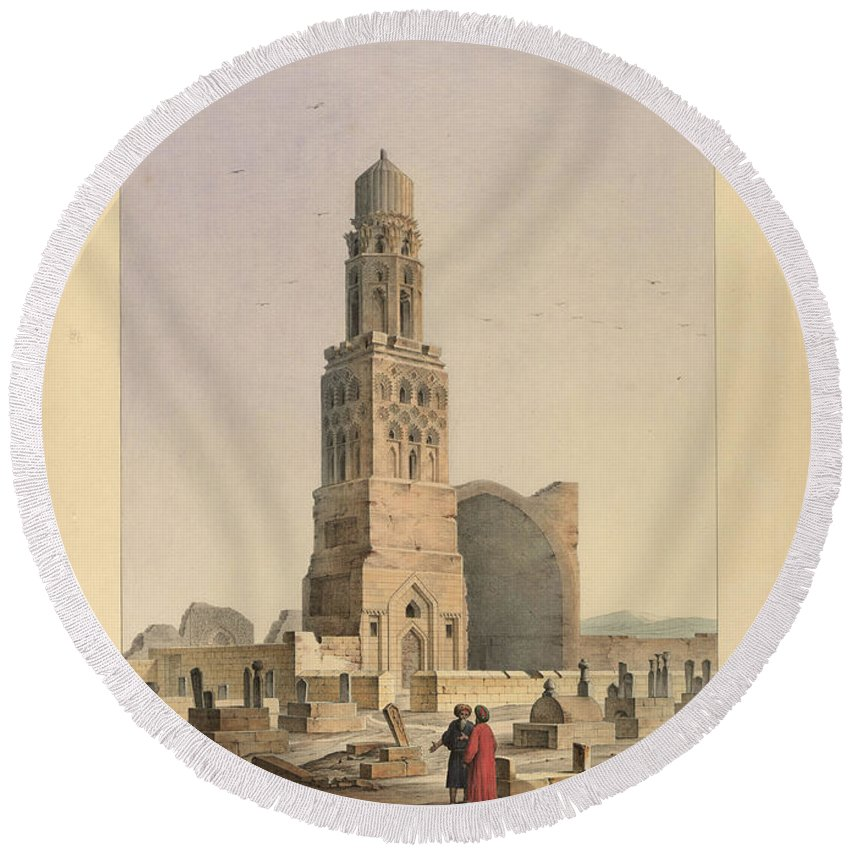 Pascal Xavier Coste Round Beach Towel featuring the painting Complex Of Sultan Qalawun by MotionAge Designs