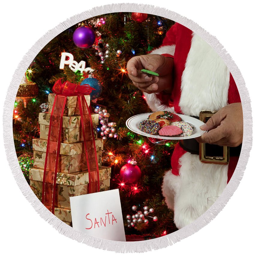 Cookies Round Beach Towel featuring the photograph Cookies And Milk For Santa by Anthony Totah