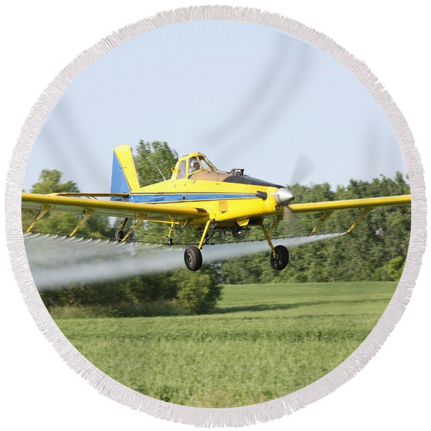 Plane Round Beach Towel featuring the photograph Crop Dusting Plane by Lori Tordsen