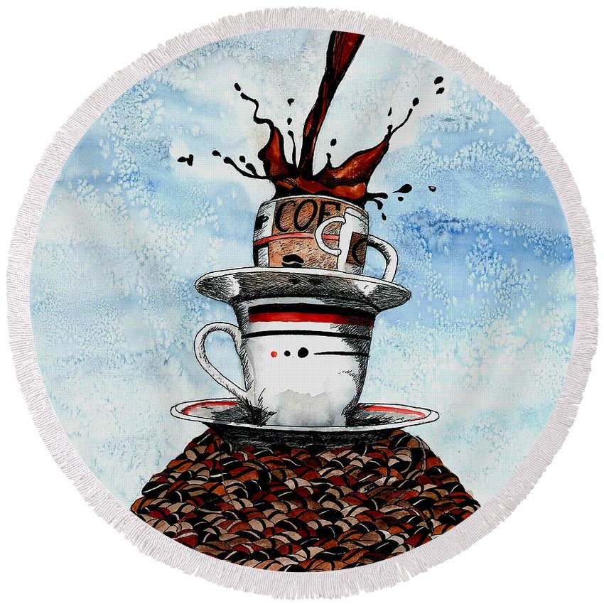 Coffee Round Beach Towel featuring the painting 2 Cups Coffee by Petra Stephens