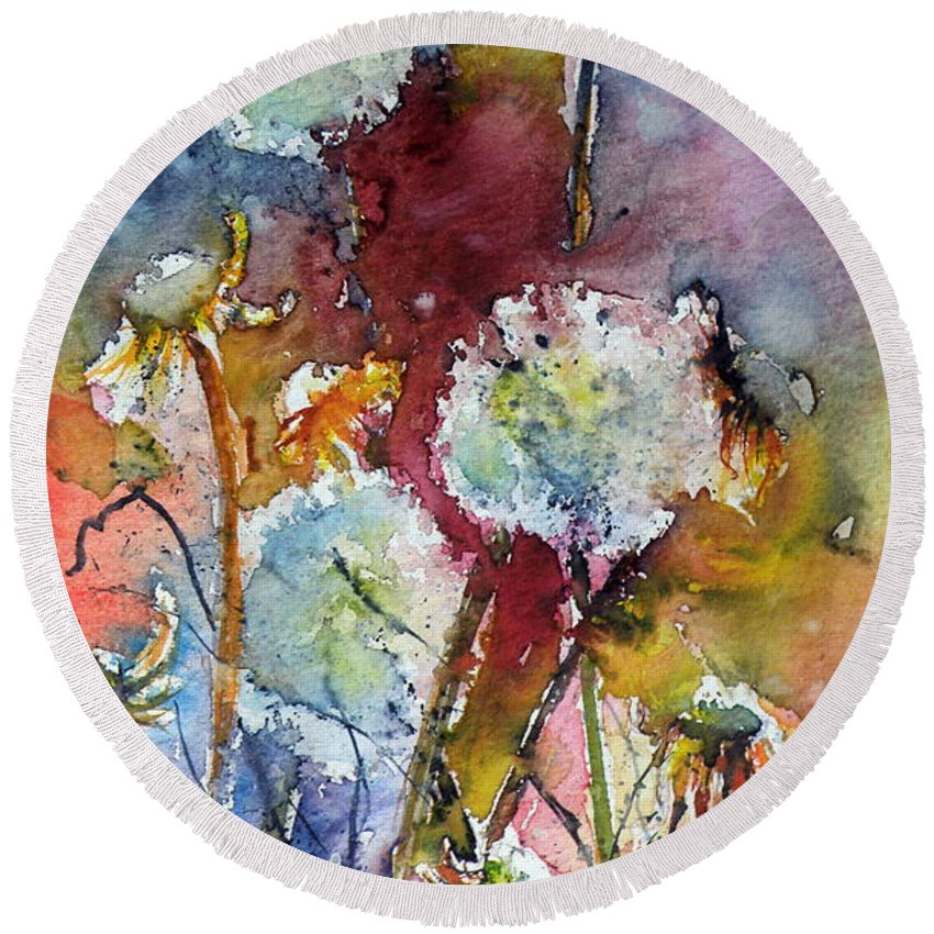 Dandelion Round Beach Towel featuring the painting Dandelion by Kovacs Anna Brigitta