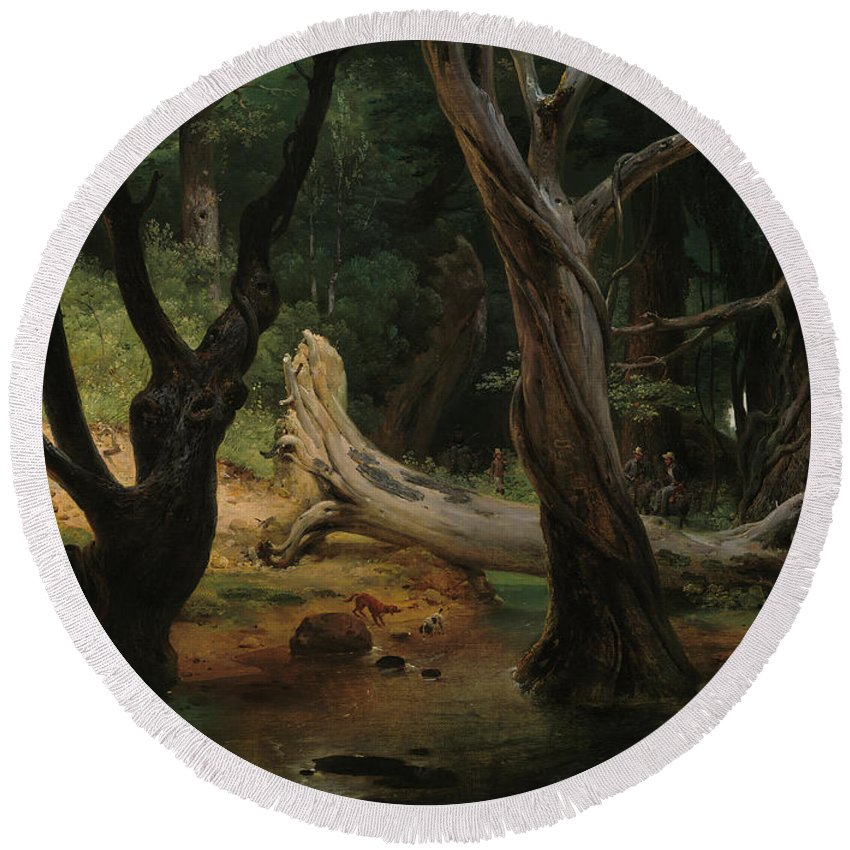 Horace Vernet Round Beach Towel featuring the painting Departure For The Hunt In The Pontine Marshes by Horace Vernet