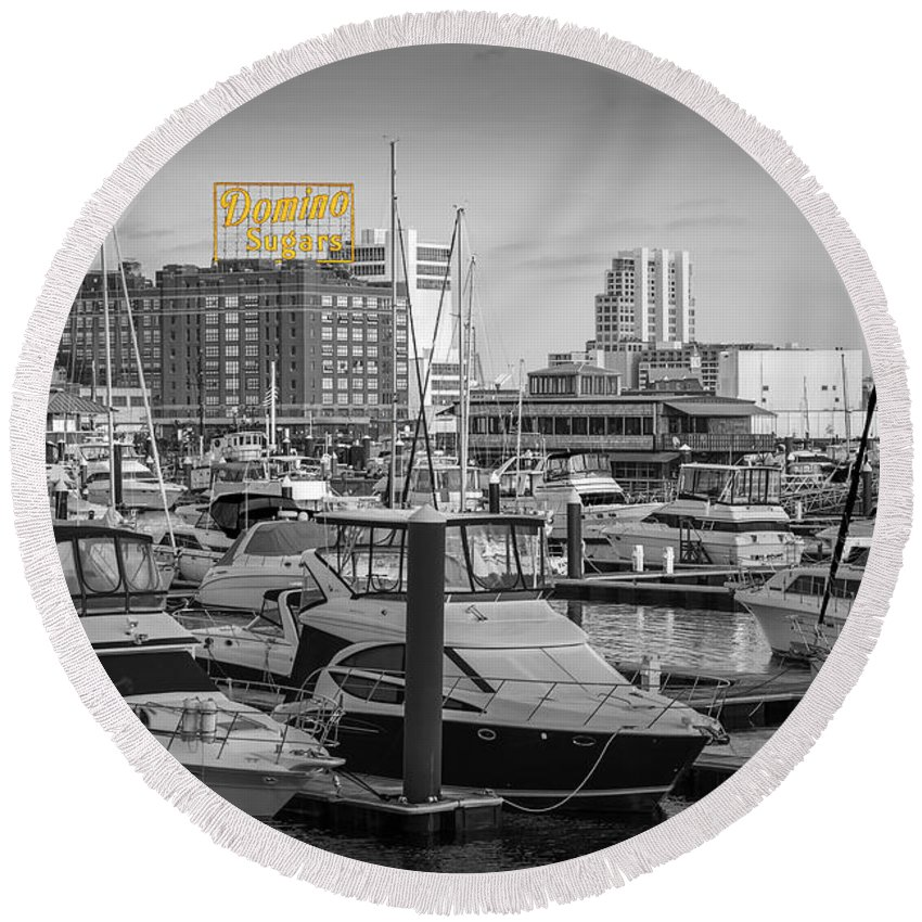 2d Round Beach Towel featuring the photograph Domino Sugars by Brian Wallace