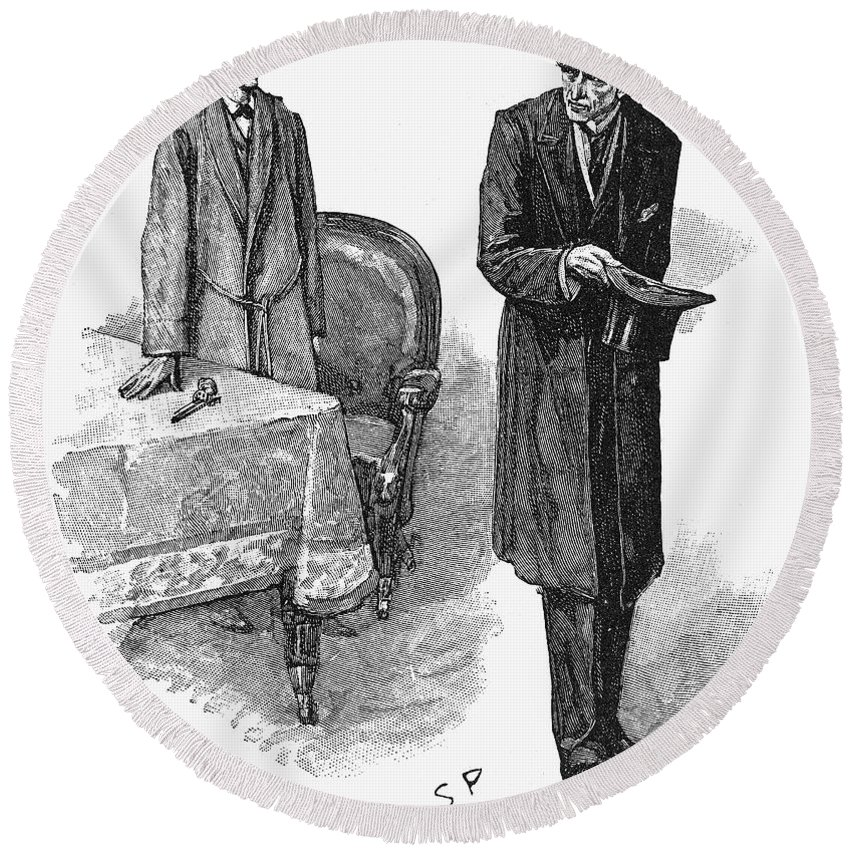 1893 Round Beach Towel featuring the photograph Doyle: Sherlock Holmes by Granger
