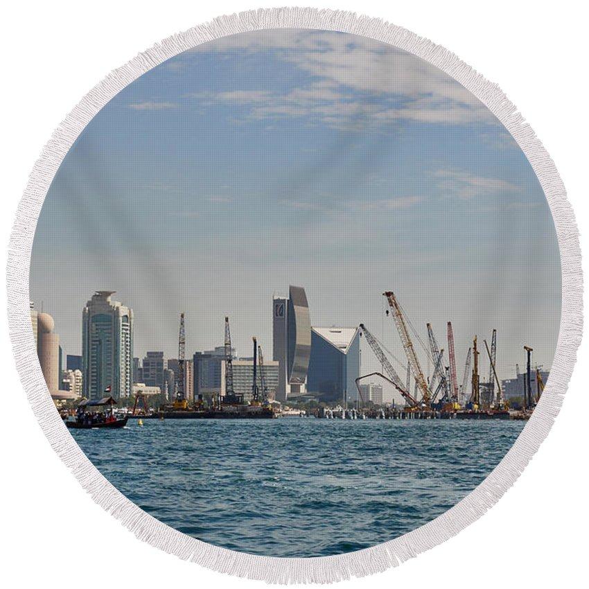 Emirates Round Beach Towel featuring the photograph Dubai Creek And Abra Boats by Jouko Lehto