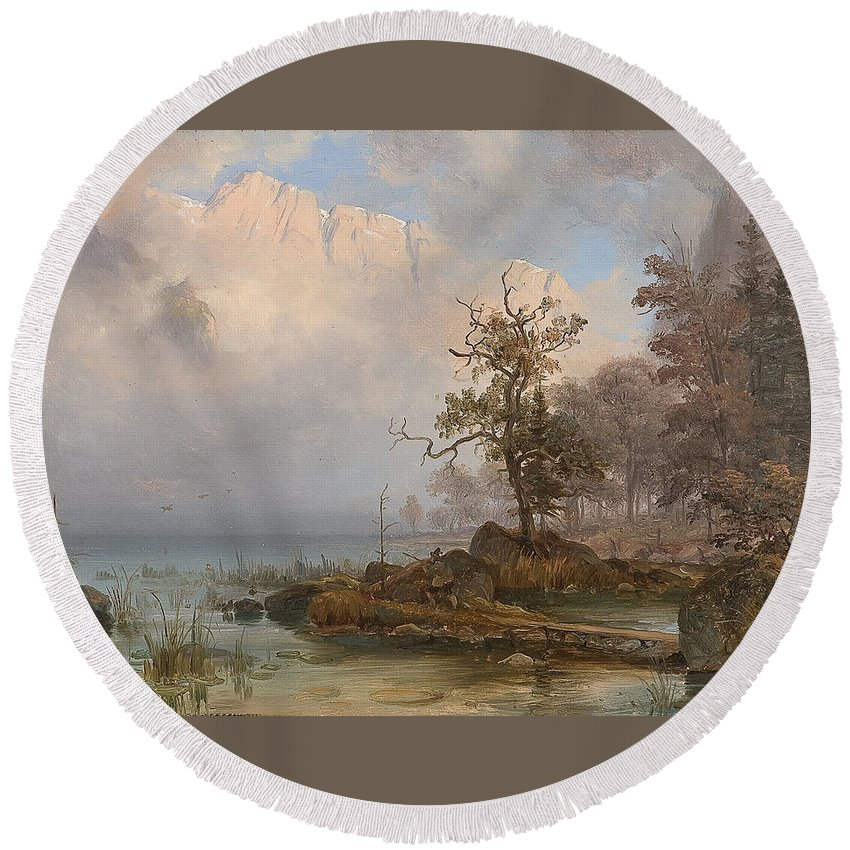 Fearnley Round Beach Towel featuring the painting Duck Hunter by Thomas