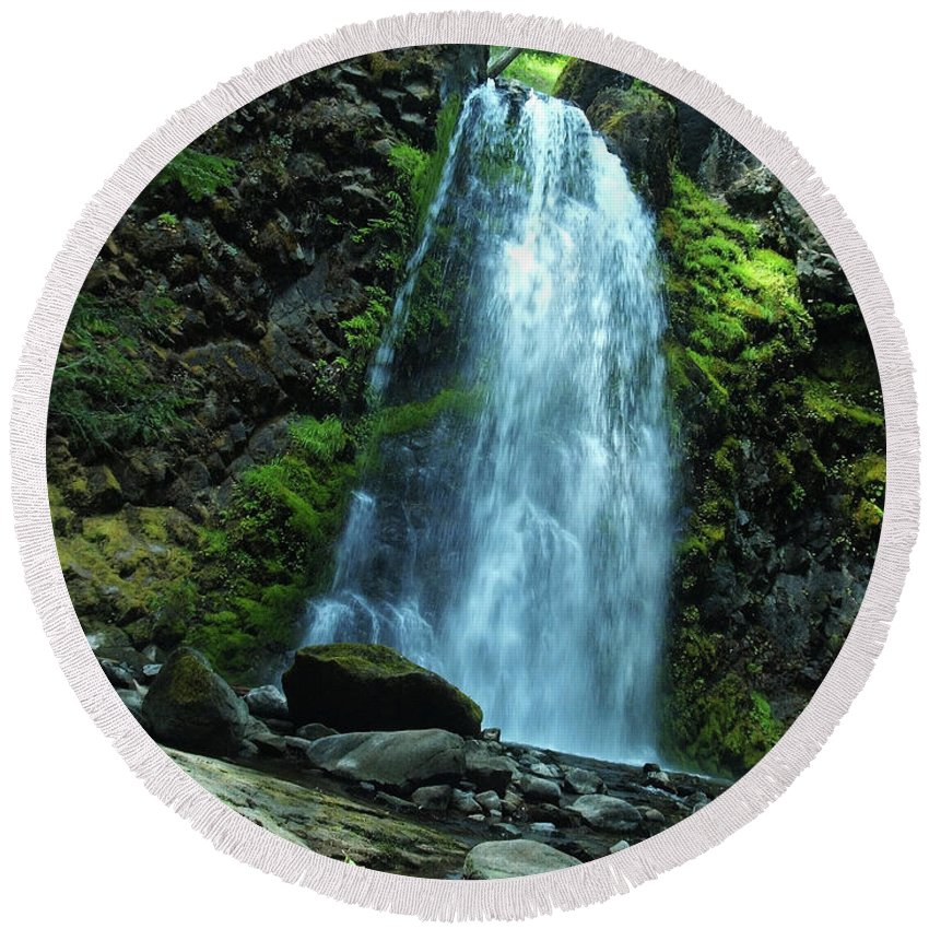 Water Round Beach Towel featuring the photograph Fall Creek Falls by Teri Schuster