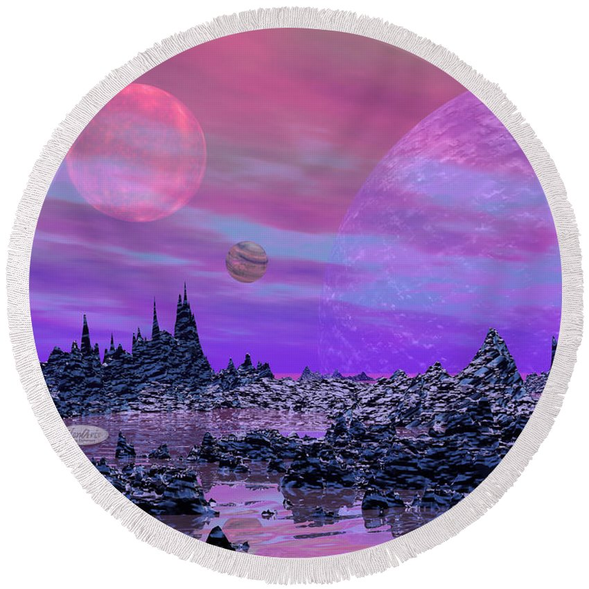 Alien Round Beach Towel featuring the digital art Fantasy Landscape by Elenarts - Elena Duvernay Digital Art
