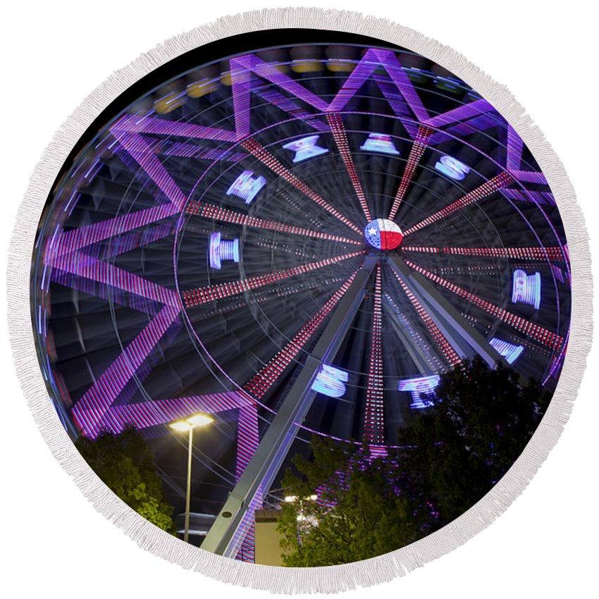 Dallas - Texas Round Beach Towel featuring the photograph Ferris Wheel At The Texas State Fair In Dallas Tx by Anthony Totah