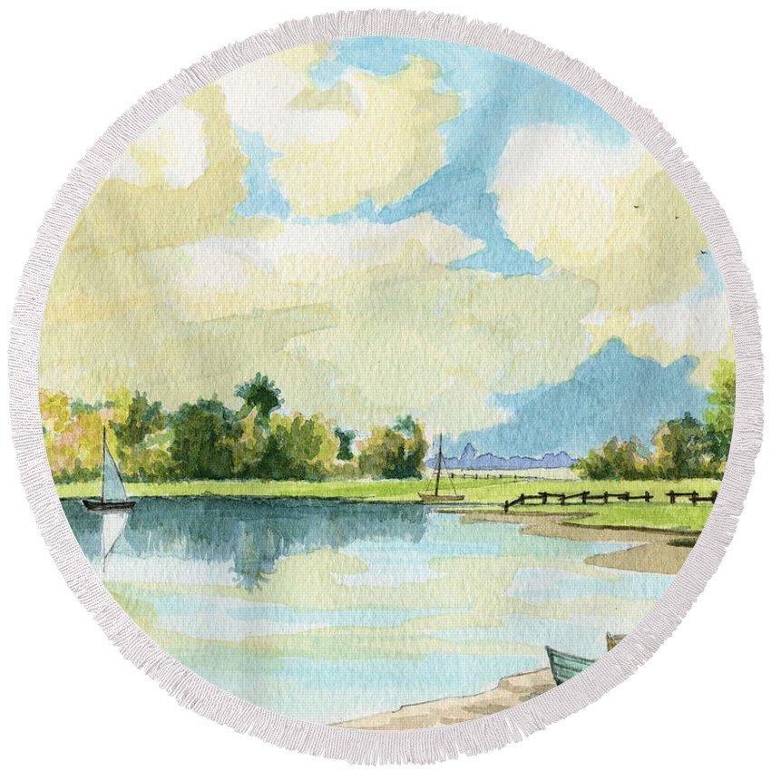 Lake Round Beach Towel featuring the painting Fishing Lake by Alban Dizdari