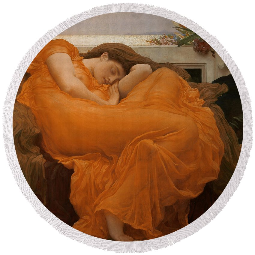 Flaming June Round Beach Towel For Sale By Frederic Leighton