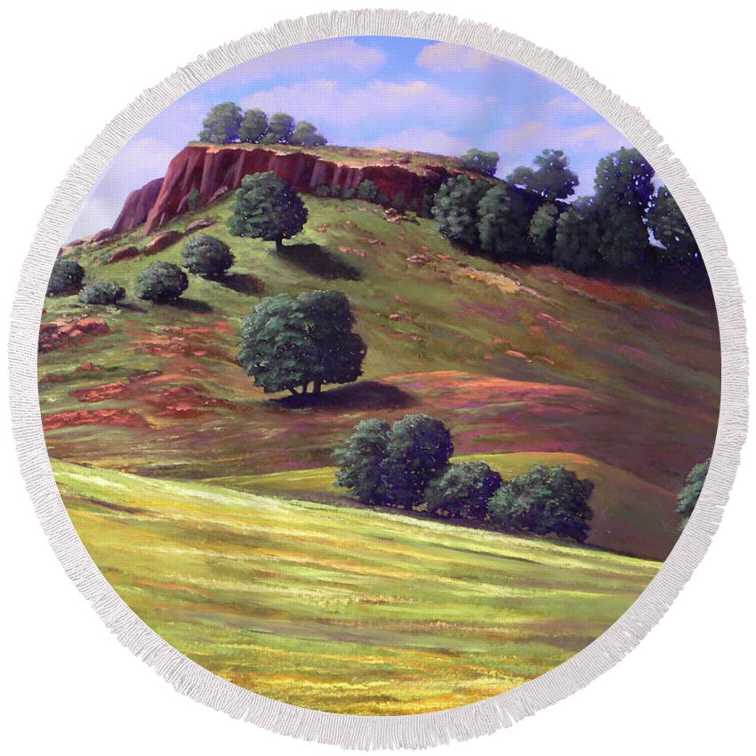 Landscape Round Beach Towel featuring the painting Flowering Meadow by Frank Wilson