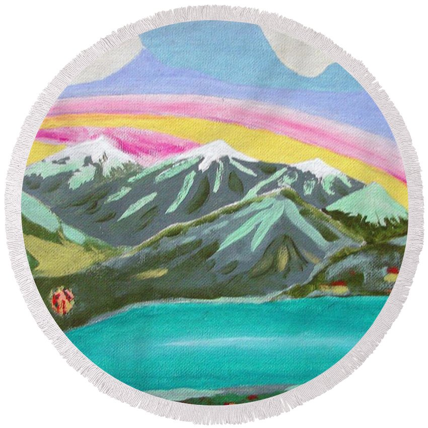 Impressionist Painting Round Beach Towel featuring the painting From The Mountains To The Sea by J R Seymour