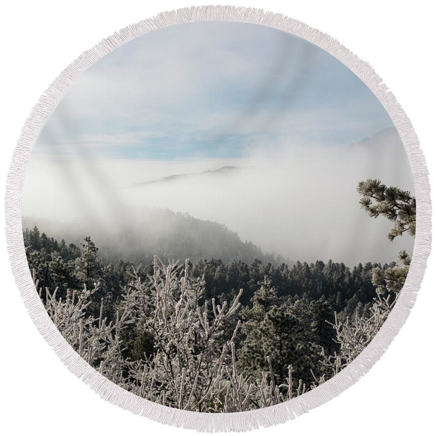 Pikes Peak Round Beach Towel featuring the photograph Frosty Pikes Peak by Steve Krull