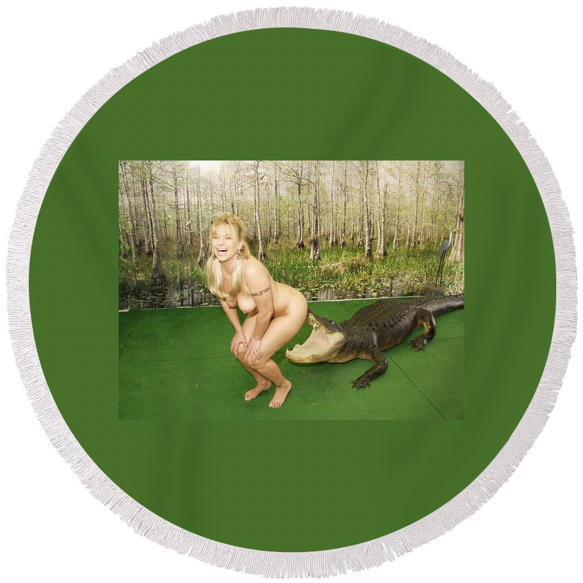 Lucky Cole Everglades Photography Round Beach Towel featuring the photograph Gator Bites by Lucky Cole