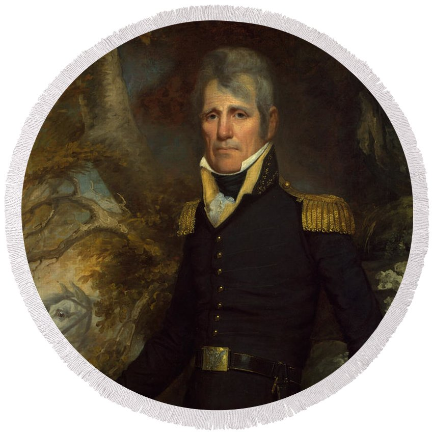 Andrew Jackson Round Beach Towel featuring the painting General Andrew Jackson by John Wesley Jarvis