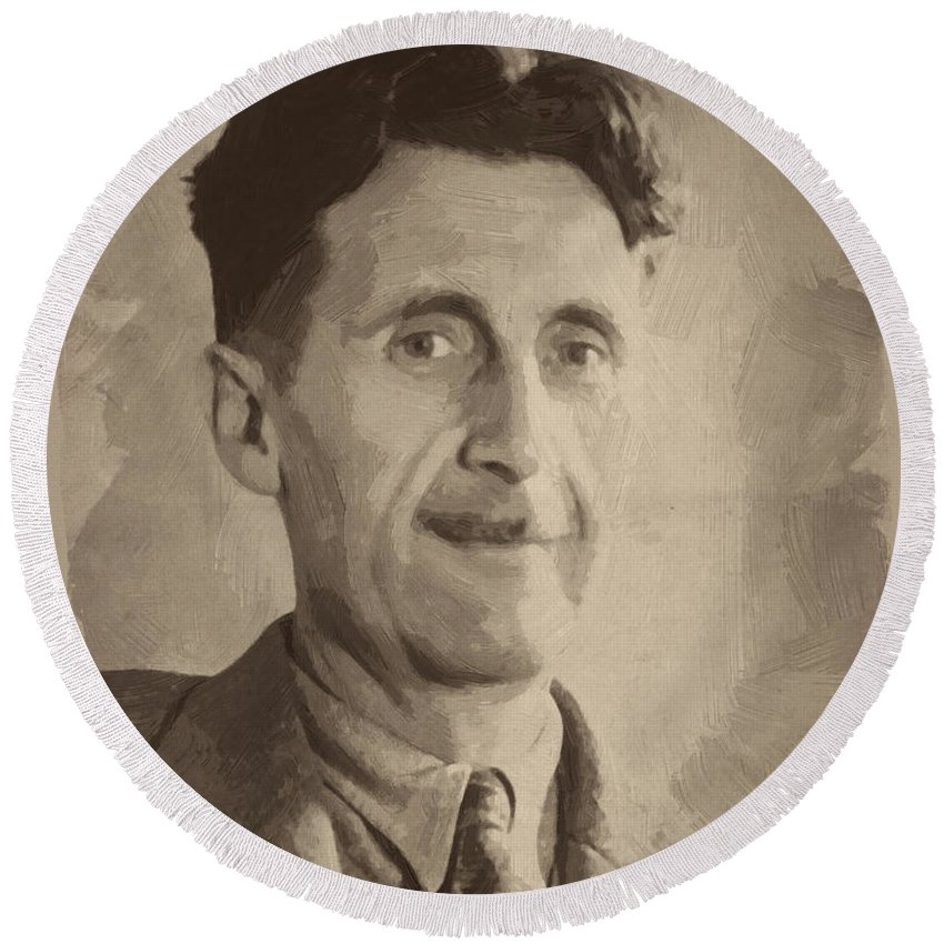 George Orwell Round Beach Towel featuring the digital art George Orwell 2 by Afterdarkness