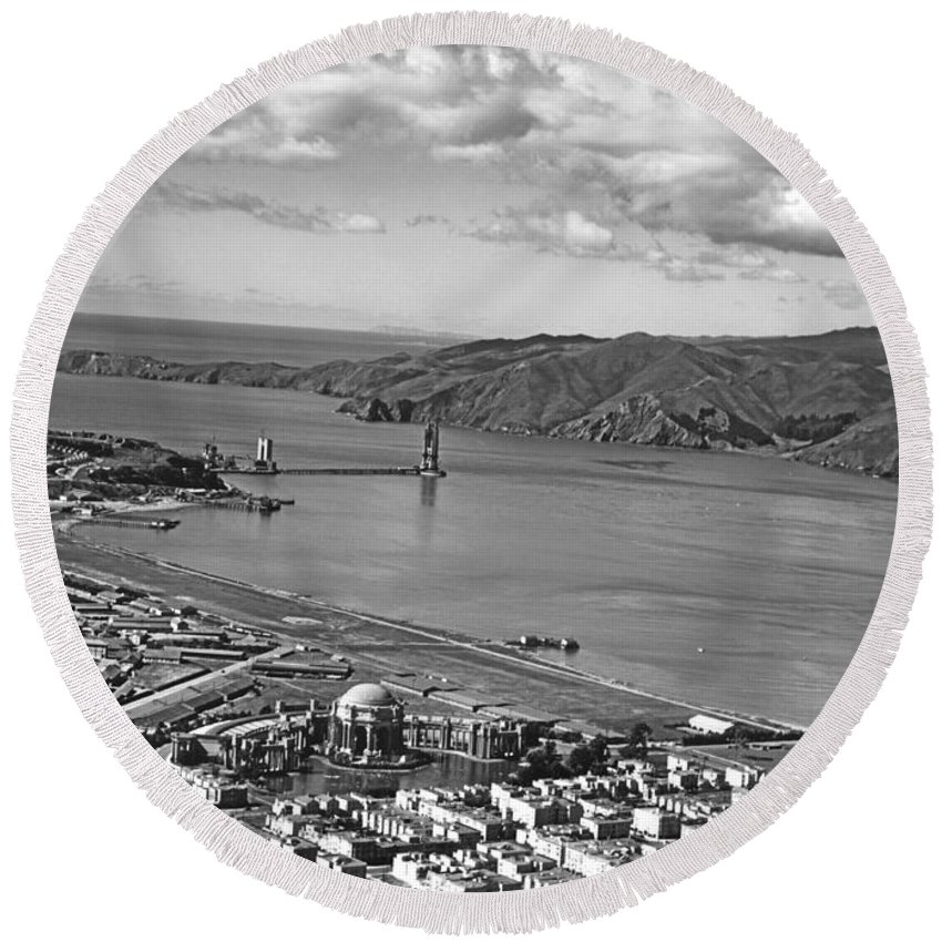 1930s Round Beach Towel featuring the photograph Gg Bridge Under Construction by Underwood Archives