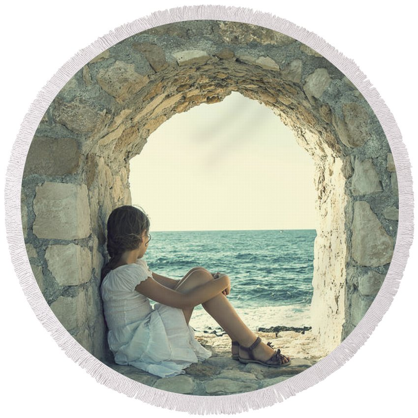 Female Round Beach Towel featuring the photograph Girl At The Sea by Joana Kruse