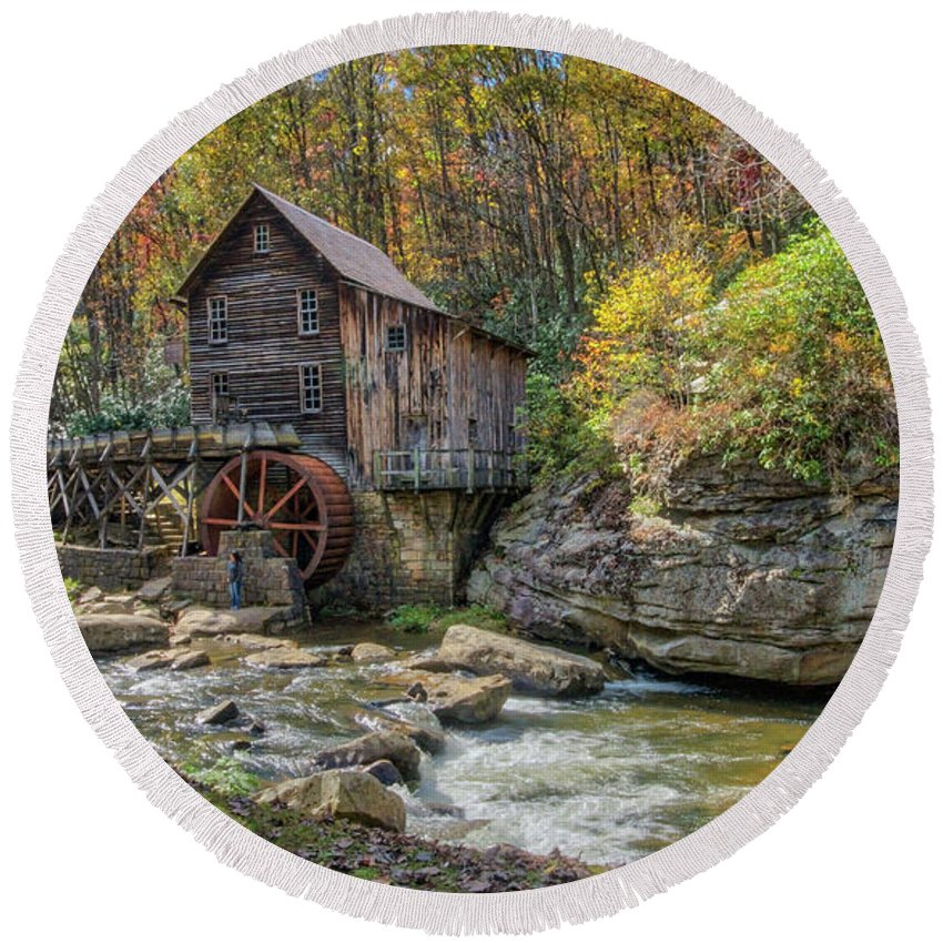 Babcock State Park Round Beach Towel featuring the photograph Glade Creek Grist Mill by Jane Luxton