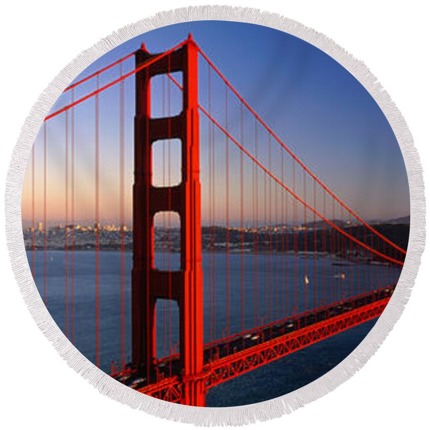 Photography Round Beach Towel featuring the photograph Golden Gate Bridge San Francisco Ca by Panoramic Images