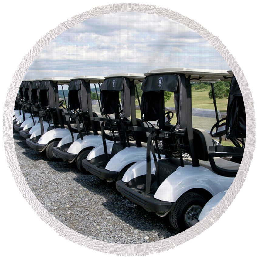 Tully New York Round Beach Towel featuring the photograph Golfing Golf Carts by Thomas Woolworth