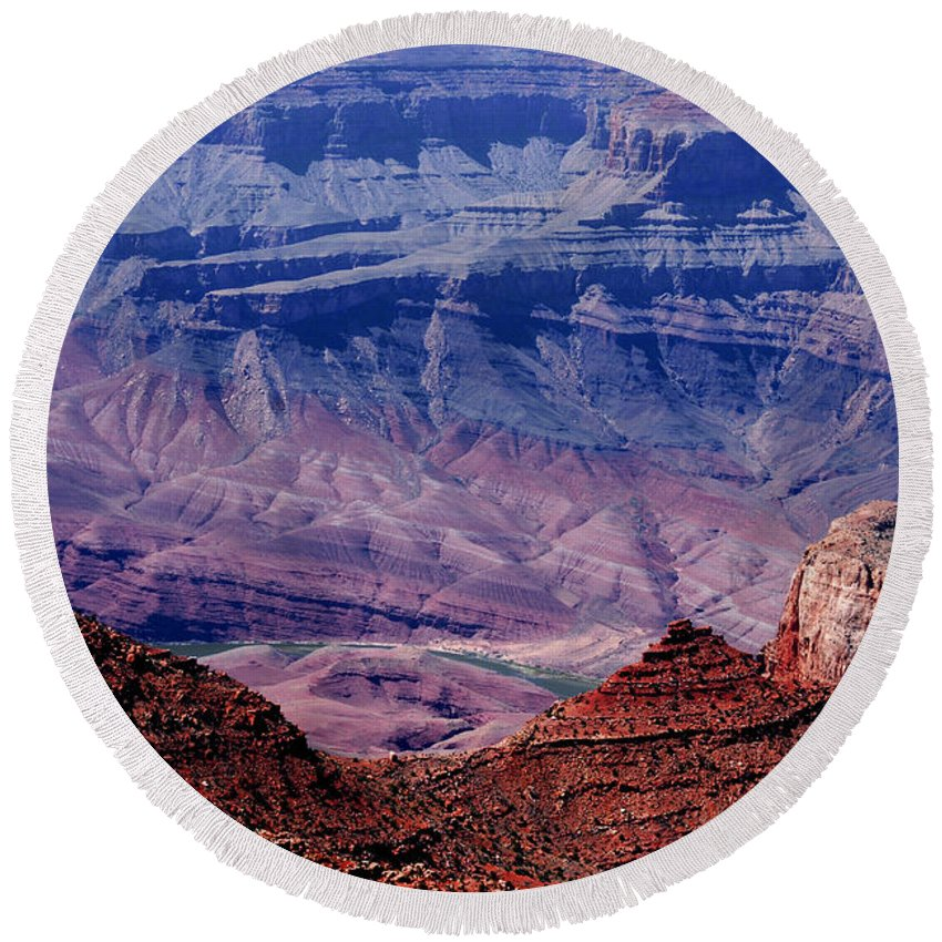 Grand Canyon Round Beach Towel featuring the photograph Grand Canyon View by Susanne Van Hulst