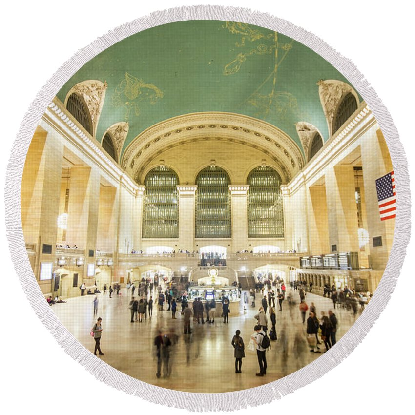 Nyc Round Beach Towel featuring the photograph Grand Central Terminal by Robert J Caputo