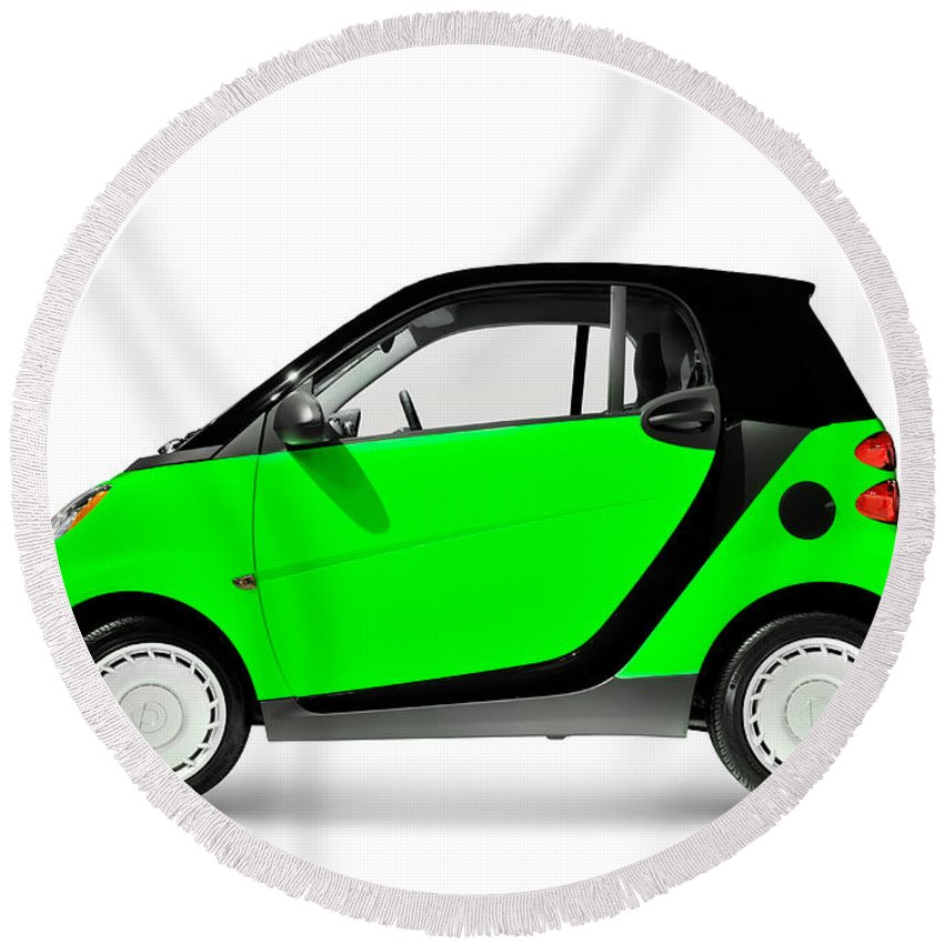 Smart Round Beach Towel featuring the photograph Green Mini Car by Maxim Images Prints