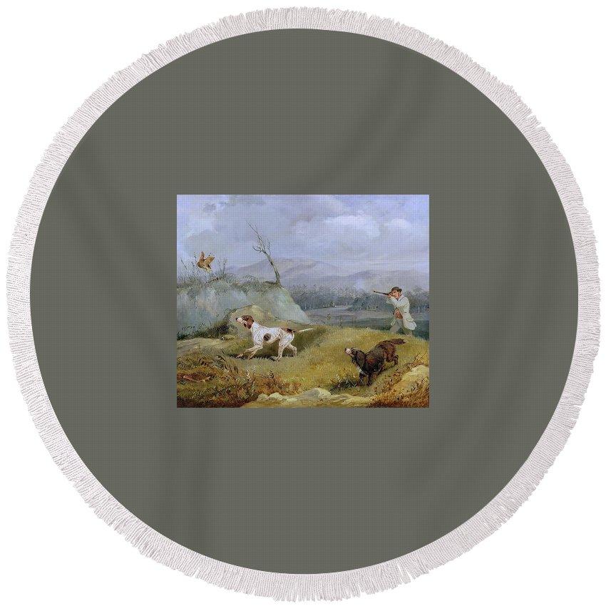 Landscape Round Beach Towel featuring the digital art Grouse Shooting Henry Thomas Alken by Eloisa Mannion