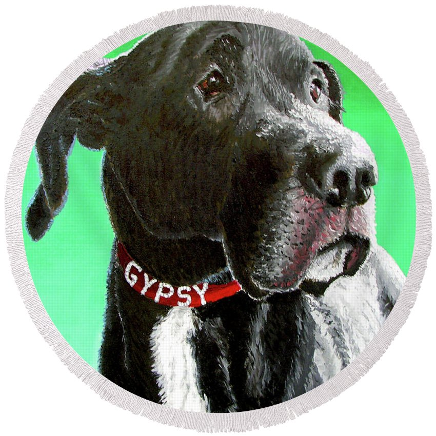 Dog Portrait Round Beach Towel featuring the painting Gypsy by Stan Hamilton