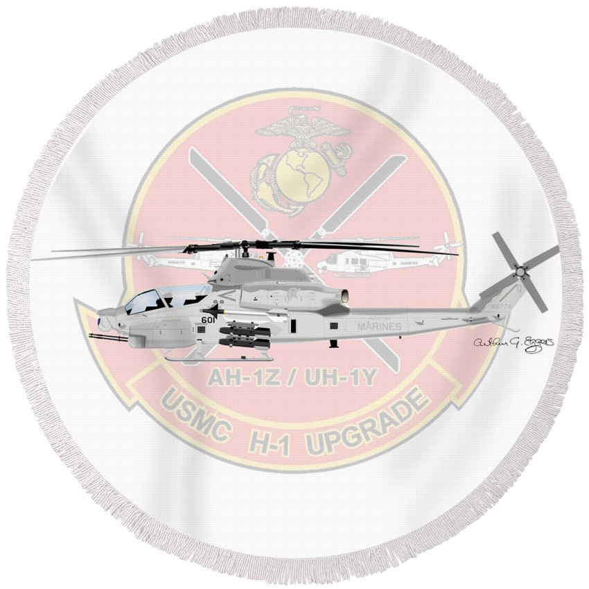 Ah-1z Round Beach Towel featuring the digital art H-1 Upgrade by Arthur Eggers