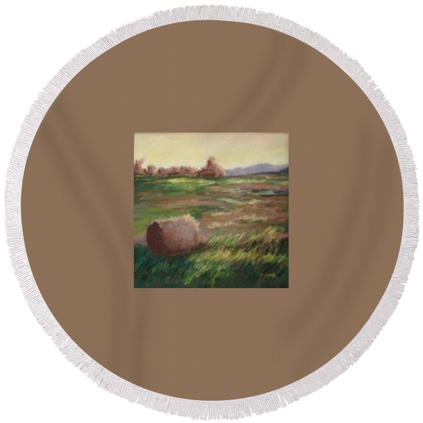 Round Beach Towel featuring the pastel Hey There by Pat Snook