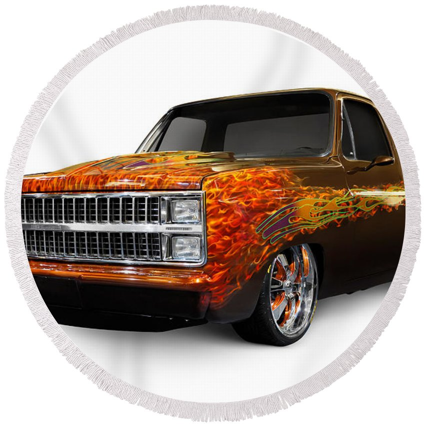 Hot Rod Round Beach Towel featuring the photograph Hot Rod Chevrolet Scotsdale 1978 by Maxim Images Prints