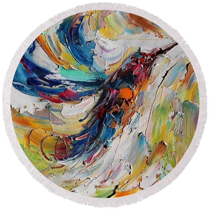 Hummingbird Round Beach Towel featuring the painting Hummingbird Dance by Karen Tarlton