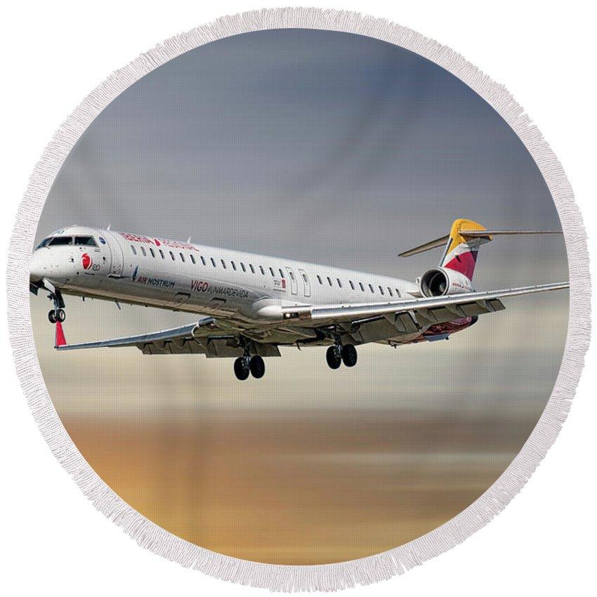 Iberia Round Beach Towel featuring the mixed media Iberia Regional Bombardier Crj-1000 by Smart Aviation