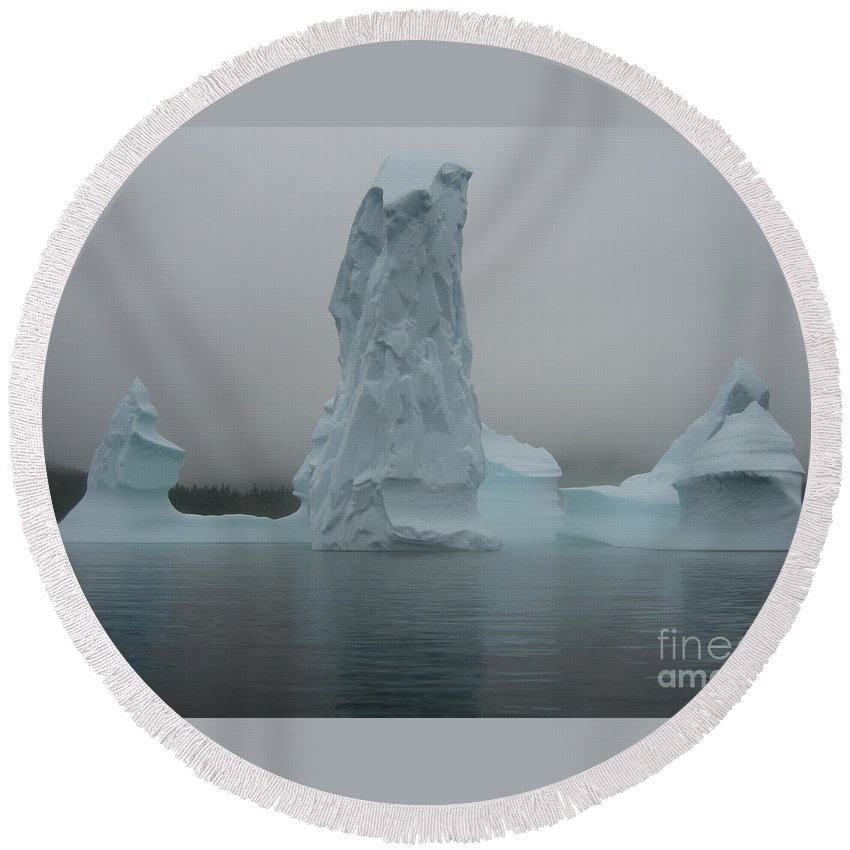 Icebergs Newfoundland Round Beach Towel featuring the photograph Icebergs by Seon-Jeong Kim