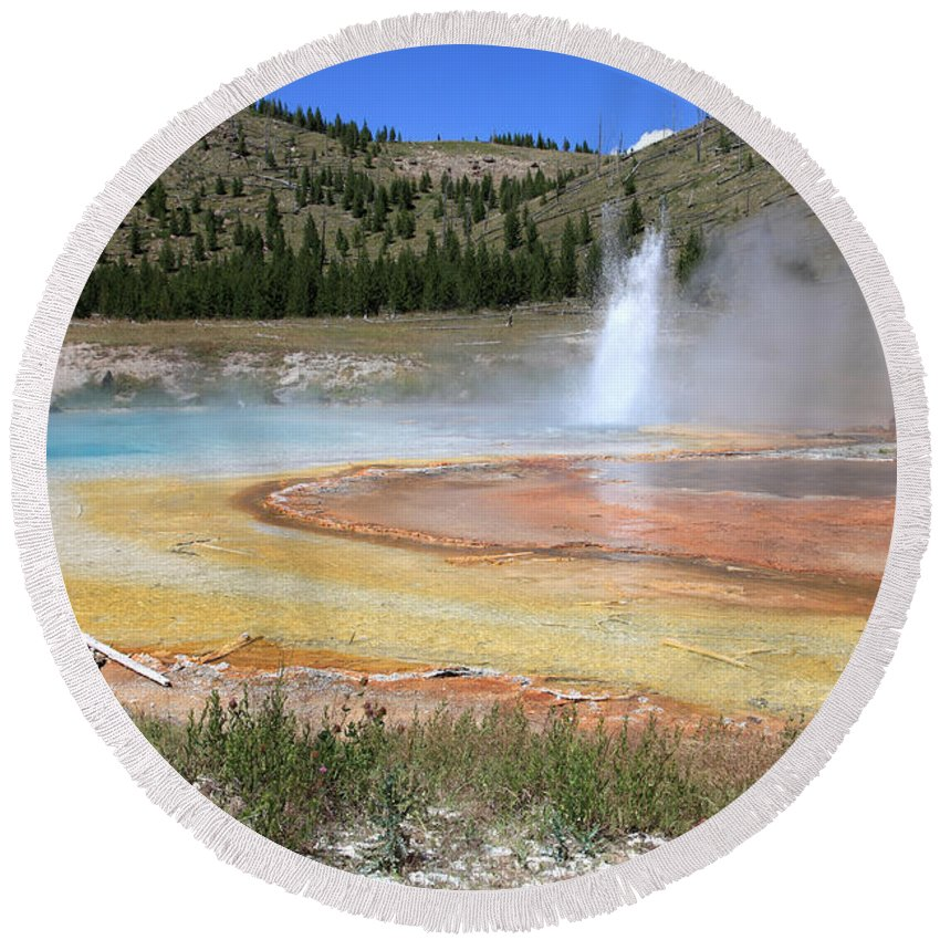 Imperial Geyser Round Beach Towel featuring the photograph Imperial Geyser, Yellowstone Np by Ted Kinsman