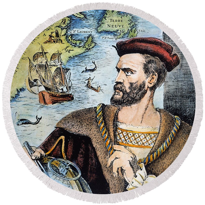 16th Century Round Beach Towel featuring the photograph Jacques Cartier (1491-1557) by Granger