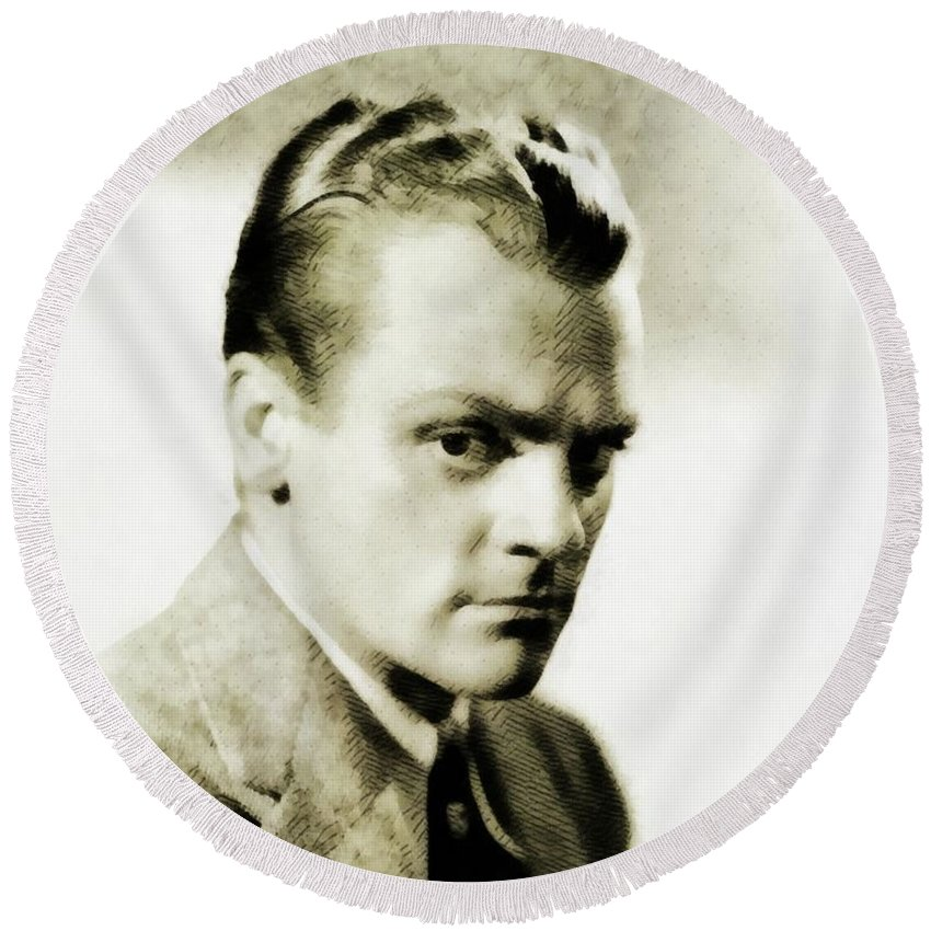 James Round Beach Towel featuring the painting James Cagney, Vintage Actor by John Springfield