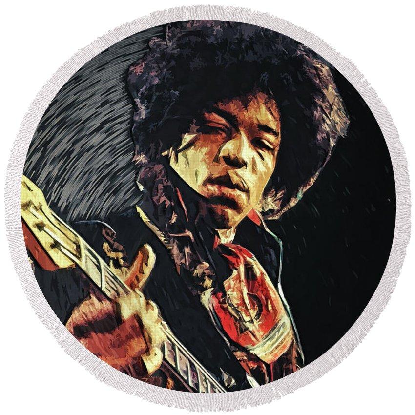 Jimi Hendrix Round Beach Towel featuring the digital art Jimi Hendrix by Zapista Zapista
