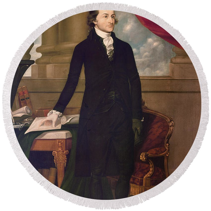 1782 Round Beach Towel featuring the photograph John Jay (1745-1829) by Granger