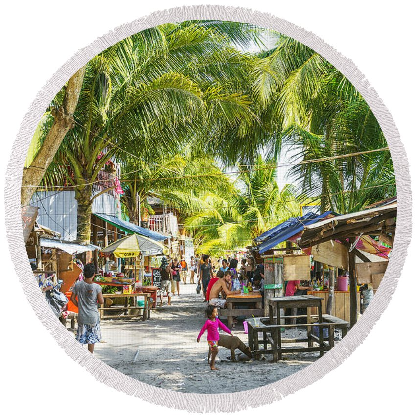 Asia Round Beach Towel featuring the photograph Koh Rong Island Main Village Bars In Cambodia by Jacek Malipan