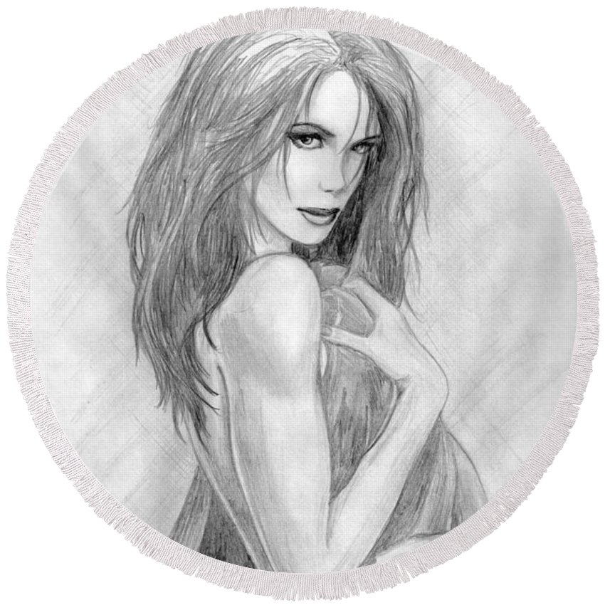 Kate Beckinsale Round Beach Towel featuring the drawing 2 by Kristopher VonKaufman