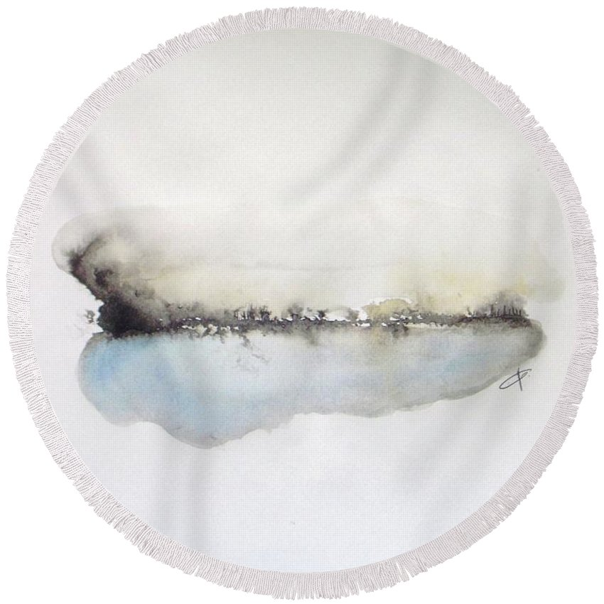 Abstract Landscape Round Beach Towel featuring the painting Lake by Vesna Antic
