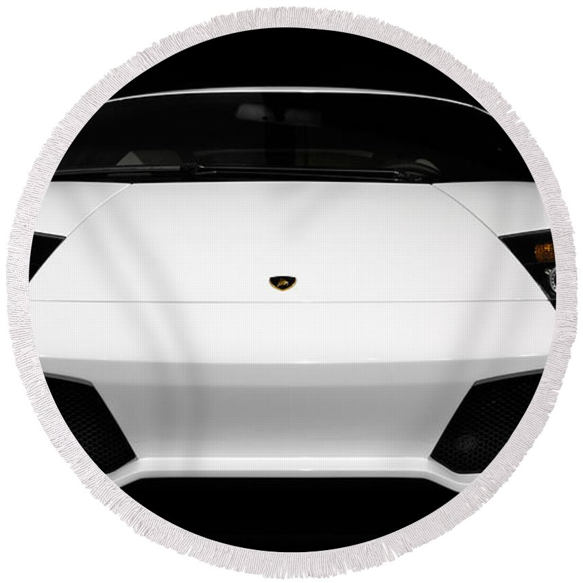 Lamborghini Round Beach Towel featuring the photograph Lamborghini Murcielago Lp640 Coupe by Maxim Images Prints