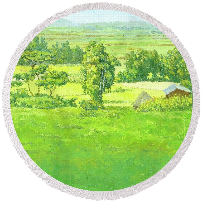 Landscape Round Beach Towel featuring the painting Landscape 2 by Yoseph Abate