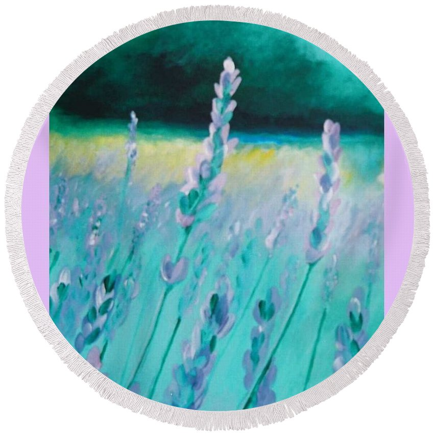 Lavender Round Beach Towel featuring the painting Lavender by Eric Schiabor